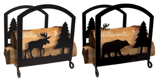 18 Inch Moose and Bear Wood Rack by Village Wrought Iron