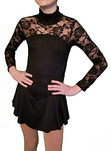 Homester Girls Ice Figure Skating Dress Long Sleeved Lace Style (Black, 14)