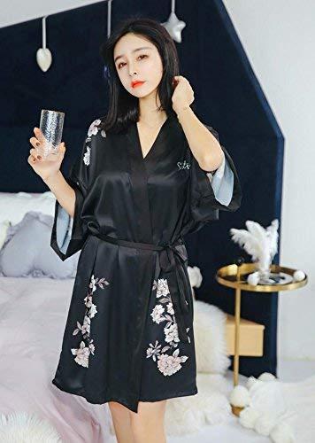 Batas Pijama Ropa Estampadas Mujer Cinturón Flor Camisones Con Basic Manga Kimono Negro Albornoz Larga Elegante aBqOAgd