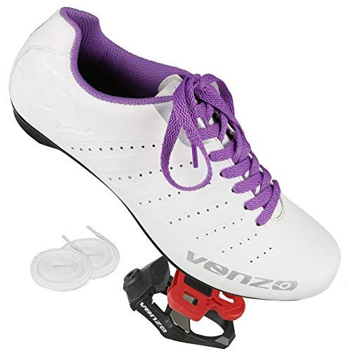 Venzo Bicycle Women's Ladies Lace Road Cycling Riding Shoes Look KEO Compatible Pedals & Cheats for Outdoor or Indoor - 40 (Best Ladies Road Bike Under 1000)
