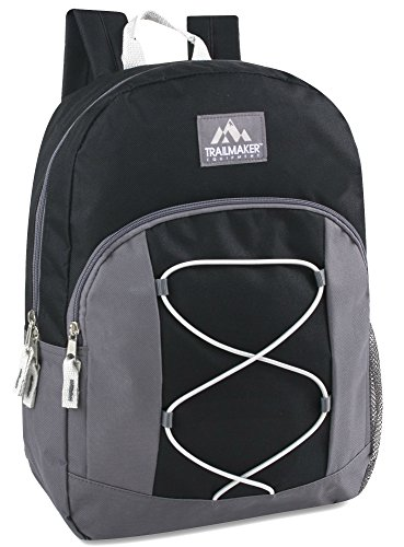 17' Trailmaker Backpack Bookbag - black grey bungee 4618