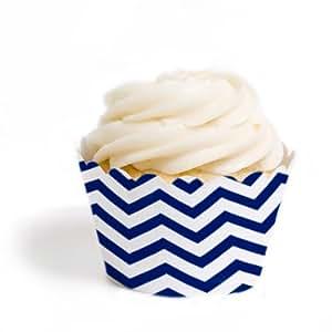 Dress My Cupcake Standard Cupcake Wrappers, Chevron, Navy Blue, Set of 12