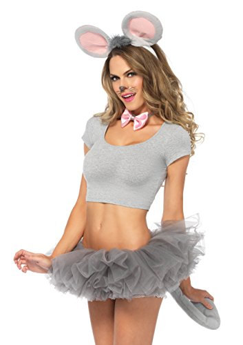 Three Blind Mice Costumes For Adults (Leg Avenue Women's Mouse Ears and Tail Costume Kit, grey, One Sizes Fit)