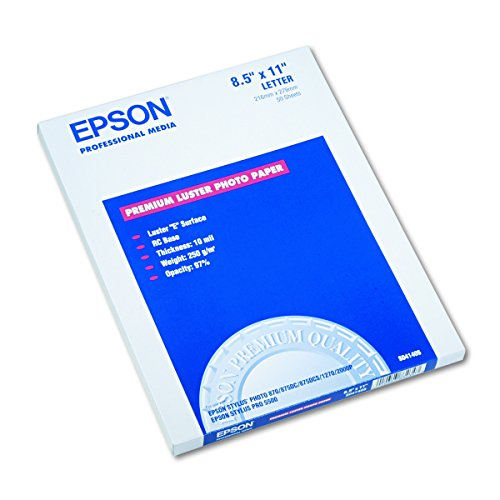 Epson S041405 Ultra Premium Photo Paper, 64 lbs., Luster, 8-1/2 x 11 (Pack of 50 Sheets)