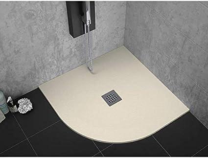 Plato de ducha pizarra 90x90cm STRATO Semicircular Resina Mineral con desagüe incluido BEIGE: Amazon.es: Bricolaje y herramientas