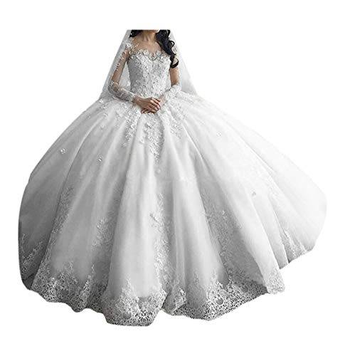 TBGirl Women's Long Sleeve Lace Ball Gown Wedding Dresses Cathedral Train White Bridal Gown Cathedral Train