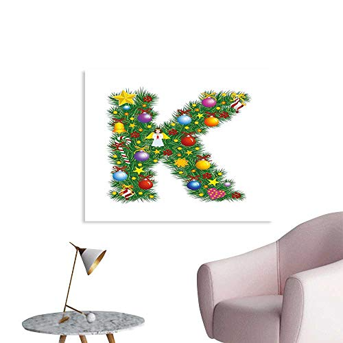 J Chief Sky Letter K Poster Canvas Prints Colorful Festive Christmas Pine Tree Letter with Bauble Candy and Angel Figures Wall Decor W36 xL32