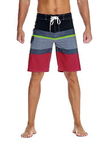 2fa807014aa Nonwe Men's Sportwear Quick Dry Beach Shorts with Lining Red 42
