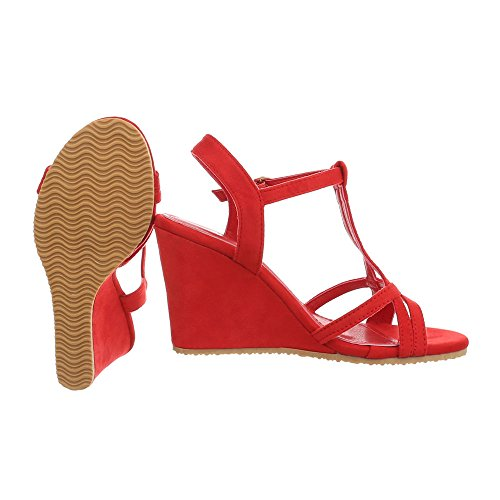 Ital-Design Women's Sandals Wedge Heel Wegde Sandals at Red 266-7 XlwI9nTk