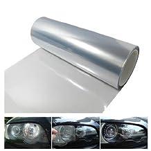 12 by 48 inches Self Adhesive Clear Bra Headlight Bumper Hood Paint Protection Film Vinyl Sheet Headlights, Tail Lights,Smoke Fog Lights Tint Vinyl Film Car Light HeadLight Sheet Car Sticker by Moyishi