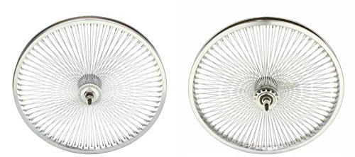 "Chrome 20"" 144 Spoke Wheel Set. Front and Back Coaster Wheel"