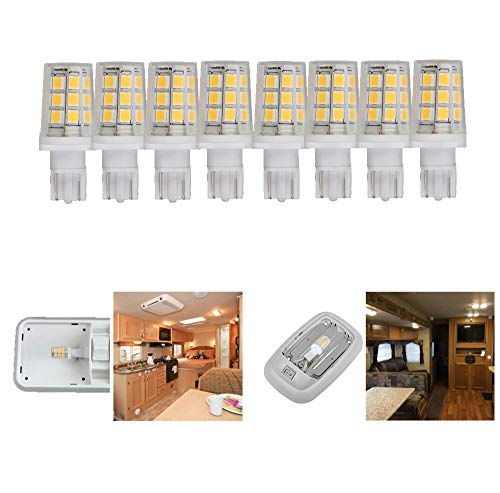 12 volt led replacement bulb for 921 912 W16W T5 T10 camper RV motorhome trailer Boat Marine Yacht interior dome light bulbs 3W 350lm 35-40W equivalent Softwhite 3000K pack of 8 (921 Replacement Led Bulbs)