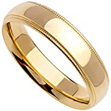 18K Yellow Gold Traditional Milgrain Edge Mens Comfort Fit Wedding Band (5mm)
