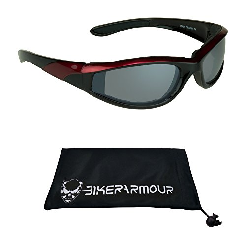 Red Frame Biker Glasses Foam Padded for Men and Women. Safety Polycarbonate Smoke Lenses and Free Microfiber Cleaning Case
