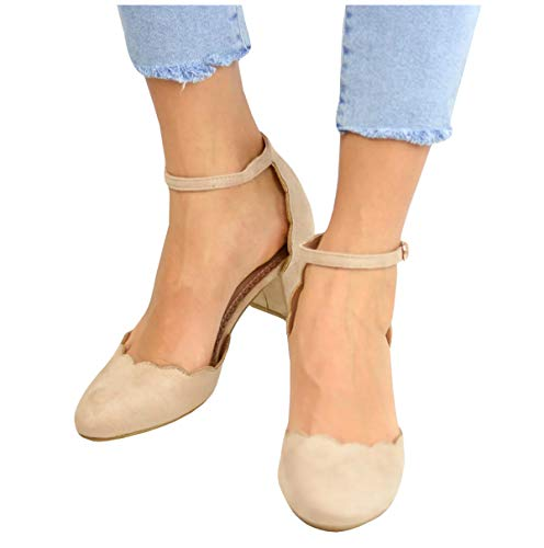 LAICIGO Women's Ankle Scalloped Strap Buckle Pump Sandals Pointed Toe Chunky Heeled Shoes]()