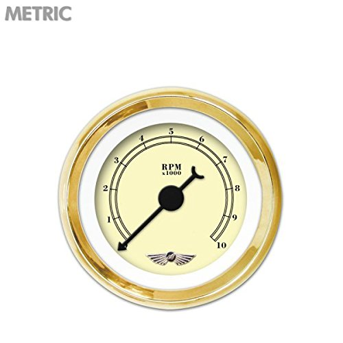 Black Classic Needles, Gold Trim Rings, Style Kit Installed Aurora Instruments 6212 American Classic Tan Tachometer Gauge with Emblem