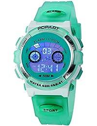 Kid Watch for Child Boy Girl LED Multi Function Sport Outdoor Digital Dress Waterproof Alarm Green