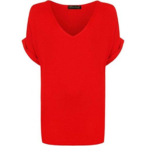 Nuovo da donna tinta unita scollo a V a maniche corte larghi maglietta Plus Size. UK 8–26 rosso 36