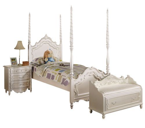 ACME 00995F Post Bed, Full, Pearl White ()