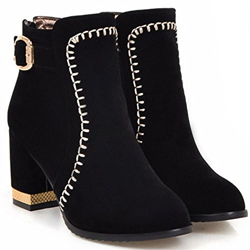 High Ankle Black Women Autumn Fashion Shoes Booties Heel Block TAOFFEN Winter YgSBx