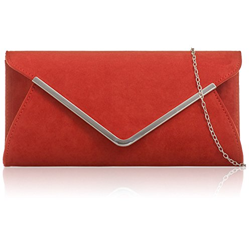 Rust Red Envelope Bags Women New London Clutch Prom Ladies Xardi Baguette Leather Suede Faux Evening EgO6gpyq