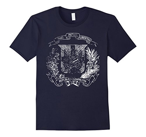Dominican Coat Of Arms - Mens Dominican Republic escudo Coat of arms distressed vintage Large Navy
