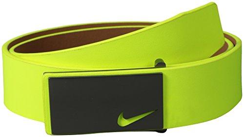 Nike Men's Sleek Modern Plaque Belt, Volt, 42
