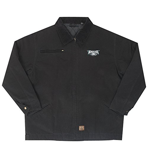 NFL Philadelphia Eagles Tradesman Canvas Quilt Lined Jacket, Black, Medium by Dunbrooke Apparel