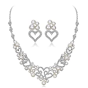 Jewelry Set for Women Love Heart Pearl Necklace Earrings Pendants Set Wedding Valentines Day Jewelry For Bride/Valentine's Day Earrings Necklace Set (Color : White, Size : Free size)