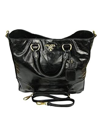 017561e2f3875 Prada Luxus Leder Shopper Tasche Vitello Shine nero schwarz gold BN2326 NEU  !  Amazon.de  Bekleidung