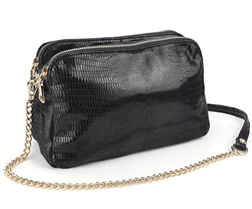 Shining Multi Zipper Pockets Women Cross body Bag Metallic Color Snake Print Chain Shoulder BagPurse (Black)