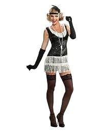 Rubies Costume Deluxe Adult Black Sequin Flapper Dress