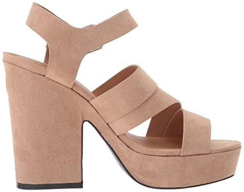 Qupid Women's Platform Heeled Sandal Taupe Suede 01Wnx3Aic