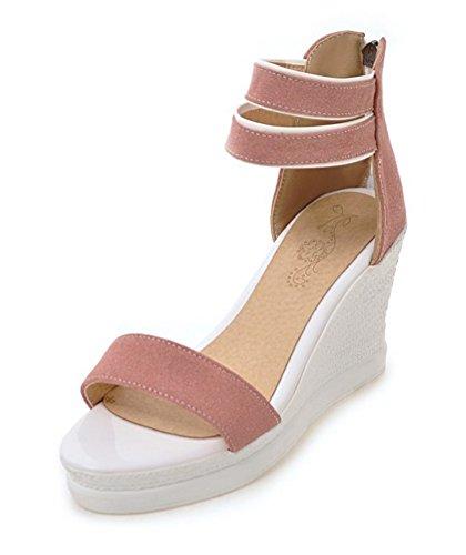 Aisun Damen Offene Zehen Durchgängig Plateau Keilabsatz Knöchelriemchen Sandale Rosa