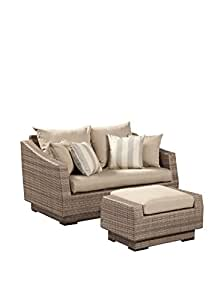 Cannes Loveseat and Ottoman - Slate