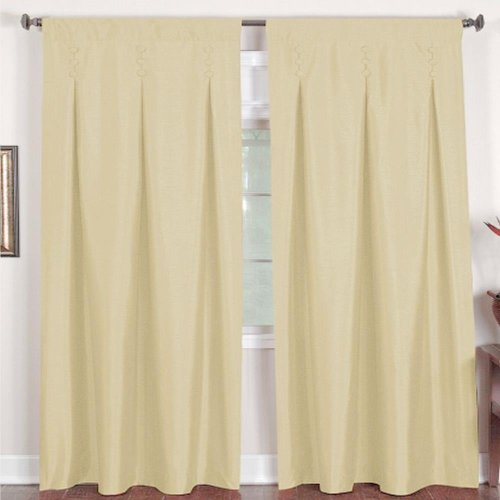 Elrene Home Fashions Imperial Shimmer Button Detail Panel Curtains Ivory 26 X 84 - Inverted Pleat Curtains