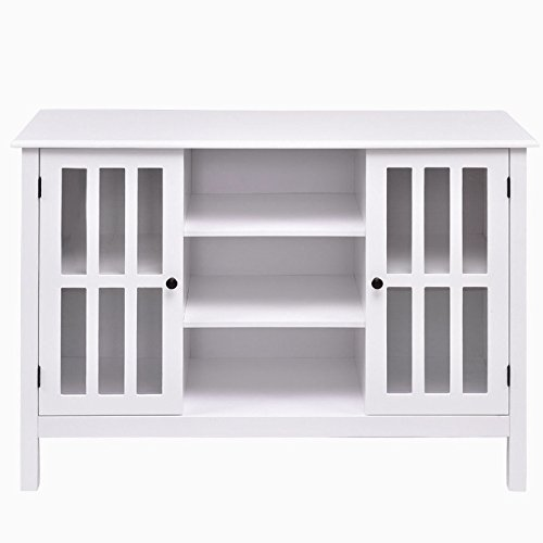 White Wooden Free Standing TV Stand Storage Cabinet Organizer Console Table Holds Up To 45'' TV Large Storage Space 2 Cupboards 3 Display Shelves Home Bedroom Living Room Stylish Furniture Décor