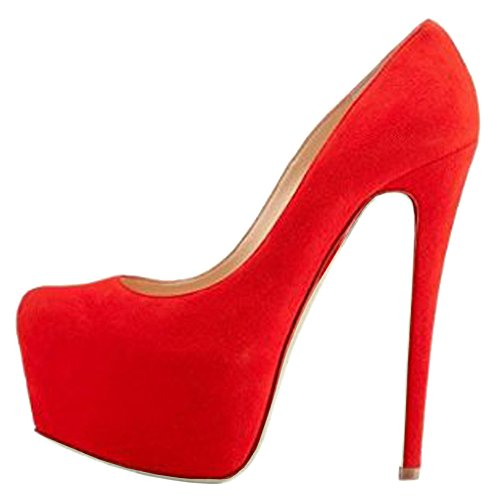 MERUMOTE Suede Pumps Dress for Shoes Wedding Night red Platform Heels Women's High Party PFPZp