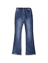 Kidscool Space Little Girls Brief Style Flared Trousers Raw Edge Slim Jeans
