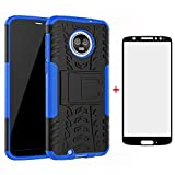 Phone Case for Motorola Moto G6 with Tempered Glass Screen Protector Cover and Cell Accessories Kickstand Hard Rugged Hybrid Protective MotoG6 G 6th Gen 6 6G XT1925DL XT1925 XT1925-6 Moto6 Cases Black