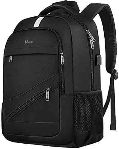 Travel Laptop Backpack, Business Anti Theft Computer Backpack with USB Charging Port, Durable High School College Computer Bag for Men Women, Slim Lightweight Daypack Fit 15.6 inch Notebook- Black