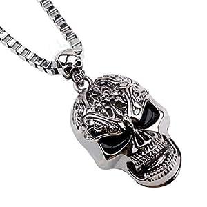 Men's Stainless Steel Gothic Skull Biker Pendant Necklace