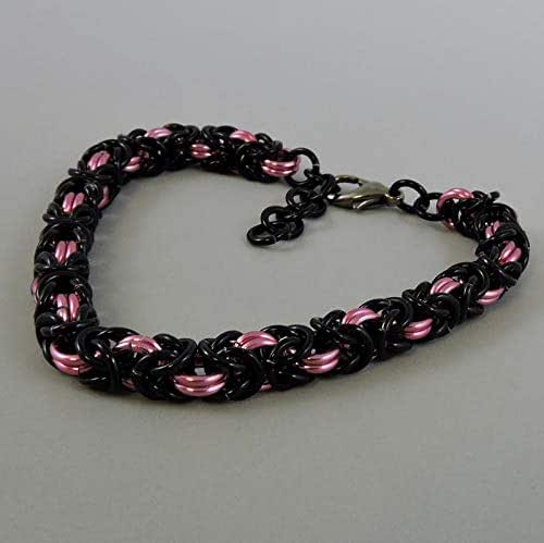 Byzantine Chainmaille Necklace with Pink and Orange Beads