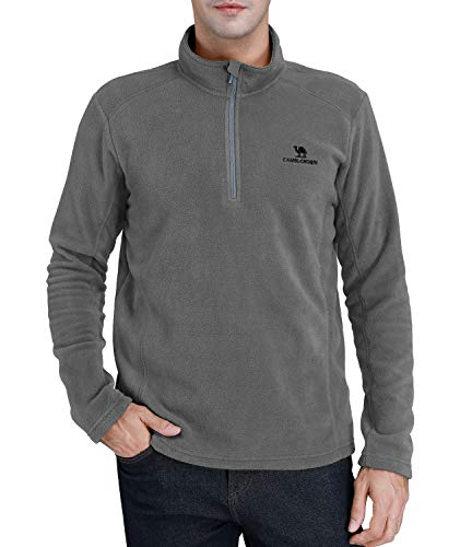 CAMEL CROWN Fleece Jacket Men Polar Fleece 1/4 Zip Lightweight Sweater Long Sleeves Pullover Sweatshirt Warm Coat for Winter Fall Spring Grey S -