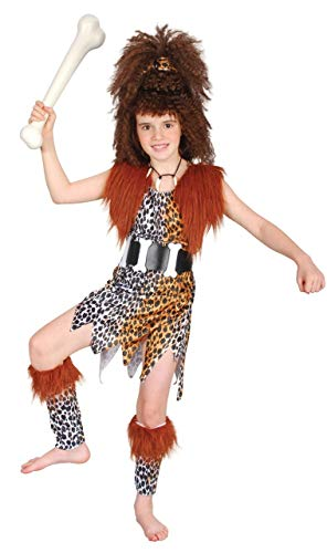 Girls Cavegirl Caveman with Wig Prehistoric Book Day Week Halloween Fancy Dress Costume Outfit 4-14 Years (12-14 -