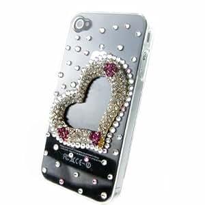 Luxury Hand Made Crystal Diamond Love Heart Flower Bling Hard Back Case Cover for Iphone 4 4s 4g