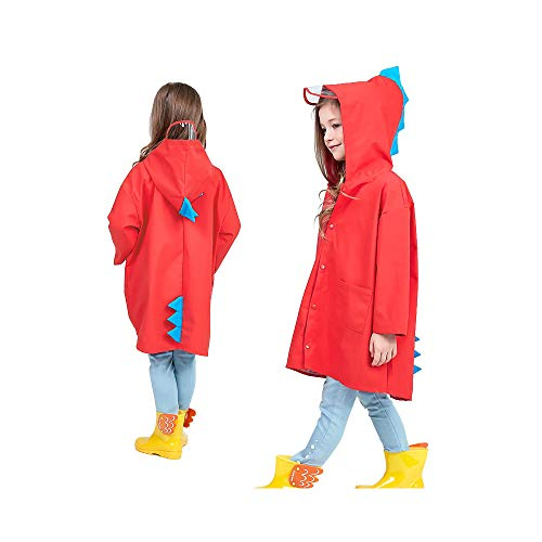 SSAWcasa Rain Poncho for Kids with Hood,Children Dinosaur Raincoat,Portable Reusable Toddler Rainwear with Storage Pouch,Lightweight Waterproof Rain Coat,Jacket for Baby Boys and Girls (L, Red) by SSAWcasa (Image #6)