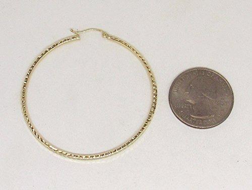 Large 14K Yellow Gold Diamond Cut Hoop Earrings, 50mm (2mm Tube) by LooptyHoops (Image #4)