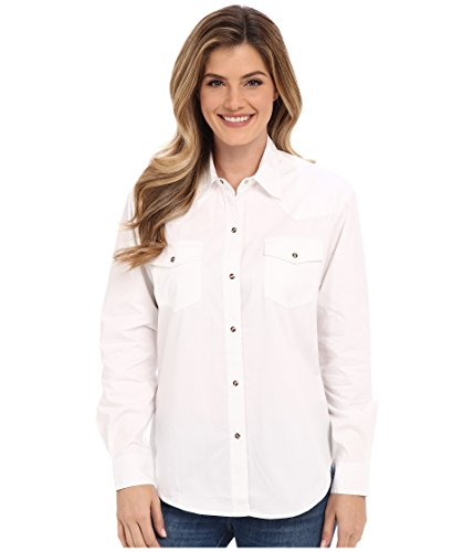 Roper Women's Solid Poplin L/S Shirt, White, SM, used for sale  Delivered anywhere in USA