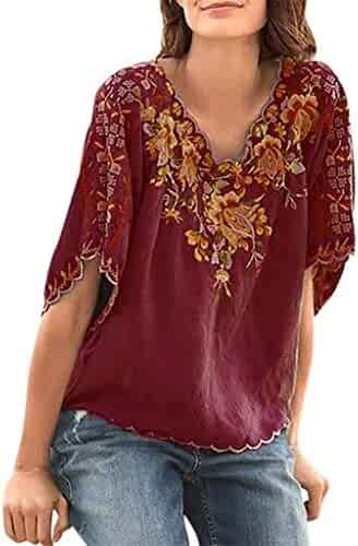 a9cfcdd3ff5445 DEATU Womens Embroidery Tops V-Neck 2019 Summer Plus Size Short Sleeve  Loose Casual T